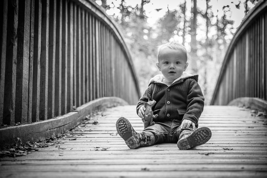 a toddler sat on a wooden arched bridge